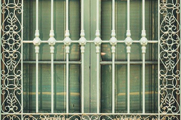 Architecture Stock Photos: Visual Motiv - Antique wrought iron window grill
