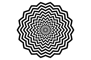Black circular zigzag lines flowers