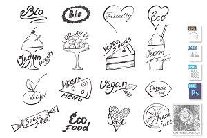 hand drawn badges labels design
