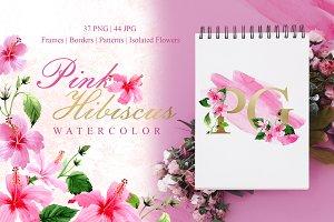Pink Hibiscus Watercolor png