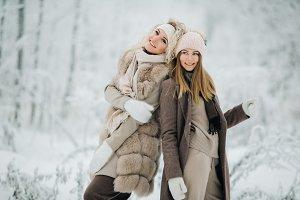 Portrait of two happy blonde women