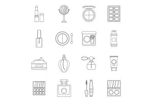 Cosmetics icons set, outline style