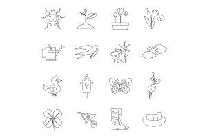Spring icons set, outline style