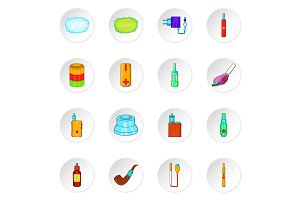 Electronic cigarette icons, cartoon