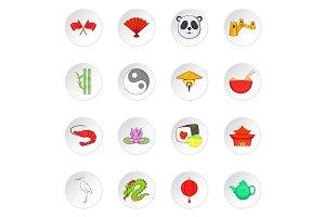 China icons, cartoon style