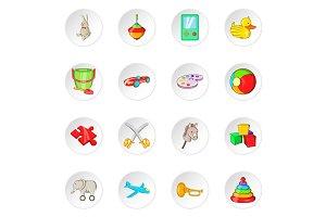 Toy icons, cartoon style