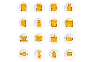 Packaging icons, cartoon style