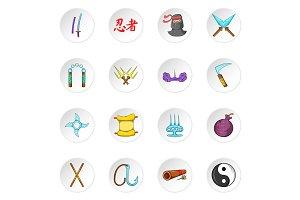 Ninja icons, cartoon style