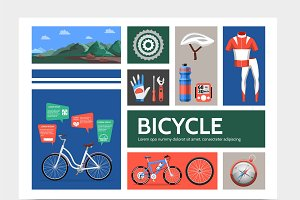 Flat bicycle infographic concept