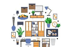 Flat furniture elements concept