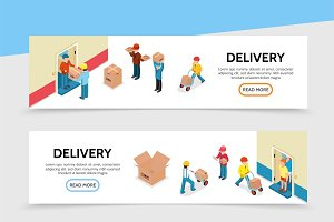 Flat delivery service banners