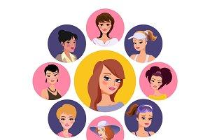 Flat woman characters avatars