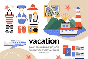 Flat summer vacation composition