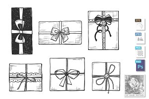 Present boxes with bows