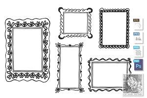 Hand drawn vintage wall frames set