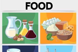 Cartoon food square concept