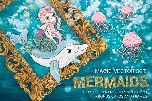 MERMAIDS Glitter Vector Illustration