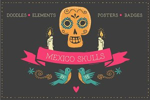 Mexico -skull doodles & elements