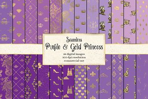 Purple & Gold Princess Digital Paper