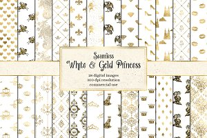 White & Gold Princess Digital Paper