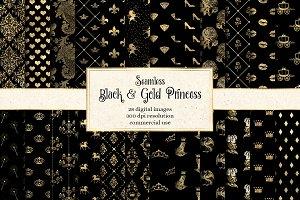 Black & Gold Princess Digital Paper