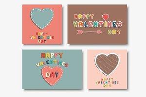 Valentine day cards - doodle design