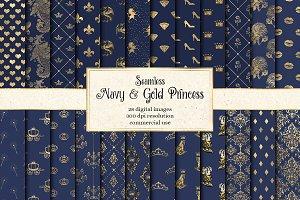 Navy and Gold Princess Digital Paper