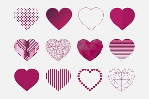 Hearts icon set in different styles