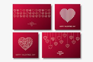 Set of Happy Valentine's Day cards