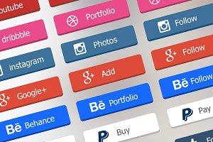 Flat Social Buttons