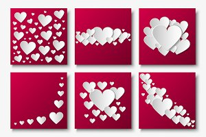 Vector cards with 3d paper hearts