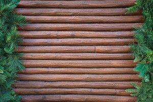 Wooden background with spruce and fi