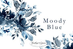 Blue Indigo Watercolor Flowers
