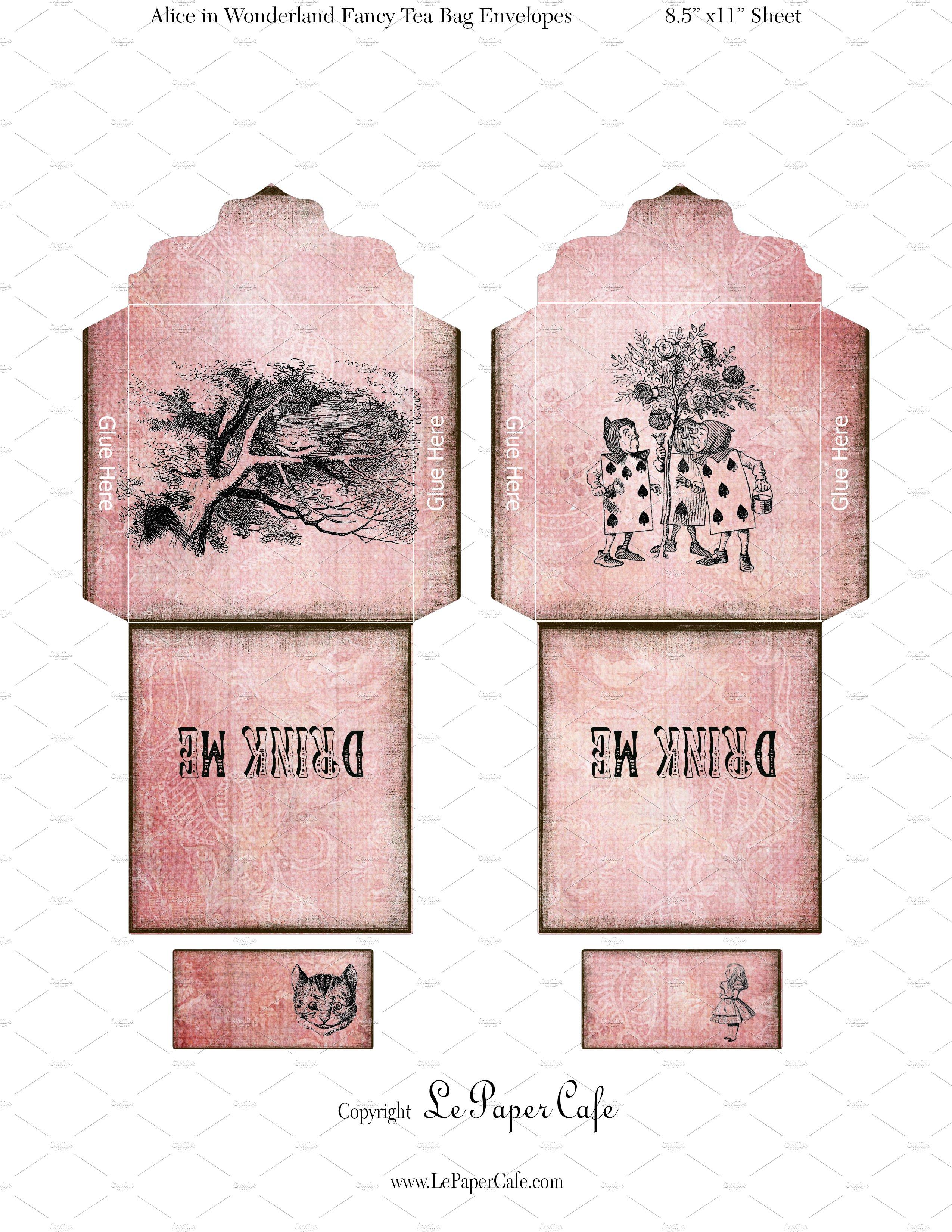 digital alice in wonderland tea bags graphic objects creative market