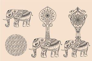 3 Elephant + 5 Mandalas. Vector