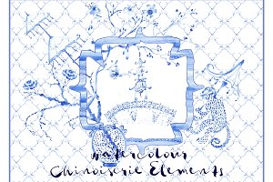 Chinoiserie Watercolour Elements