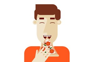 Pizza. Man eating pizza. Flat style.