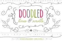 Doodled Lines & Scrolls - Vector/png