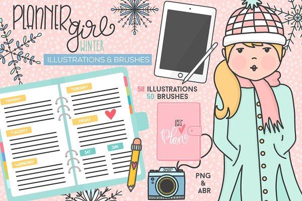 Planner Girl Winter Elements & Brush