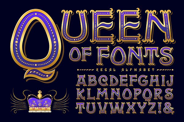 Queen of Fonts Ornate Alphabet