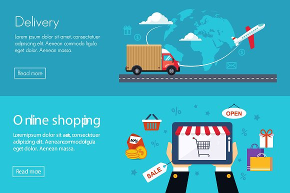 Flat Banner Online Shopping Illustrations Creative Market