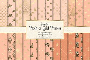 Peach & Gold Princess Digital Paper