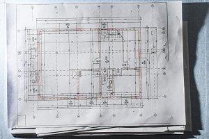 Home design blueprint. Technical arc