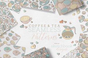 Coffee & Tea Pattern Doodle Set
