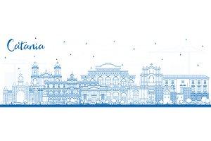 Outline Catania Italy City Skyline