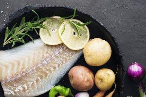 Cod. Fresh sea white raw fish before