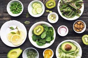 Ingredients for making green salad