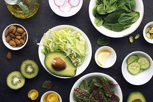 Cooking fresh green salad. Iceberg