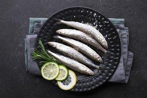 Fresh raw sea small fish smelt