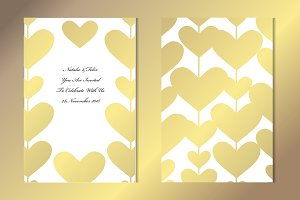 Golden Hearts Card Template